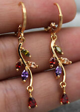 "18K Yellow Gold Filled - 1.6"" Waterdrop Leaf Topaz Amethyst Ruby Women Earrings"