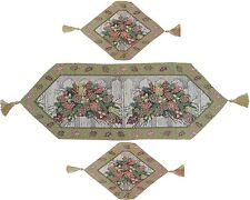 DaDa Bedding Floral Christmas Holiday Tapestry Table Runners Placemats Set 3PCS