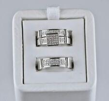 His Her Diamond Engagement Bridal Wedding Band Trio Ring Set 14K White Gold Over