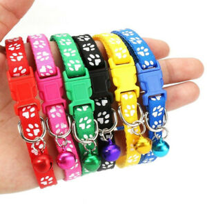 12x Dog Collars Pet Cat Puppy Buckle Nylon Collar with Bell 6 Colors#PTUK