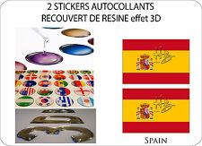 2 X STICKERS RECOUVERT DE RESINE DRAPEAU EFFET 3D 70 mm X 50 mm ESPAGNE