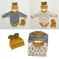Newborn Baby Girls Boy Romper Pineapple Print Clothes Jumpsuit Beanie Cap Outfit
