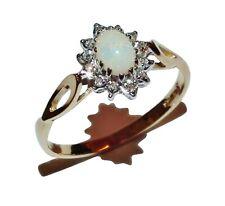 9ct Yellow Gold, Opal & Diamond Cluster Ring - UK Size: P