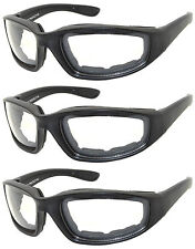 3 PAIR COMBO Padded Sunglasses Motorcycle Riding Glasses 3 Clear Lens Googles