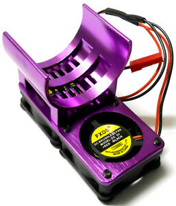 1/10 540 Motor Cooling Heatsink Heat Sink Vented Alloy Purple Twin Fan for JST