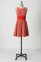 ANTHROPOLOGIE RED EMBROIDERED ABLAZE DRESS FROCK BY TRACY REESE SZ 6 rare