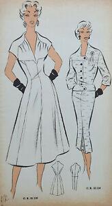 Robe Femme DESSIN ORIGINAL Mode HAUTE COUTURE Croquis ca 1960