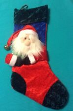 """Red CHRISTMAS STOCKING  W Santa Sewn on Front Soft  Blue White & Green 21"""""""
