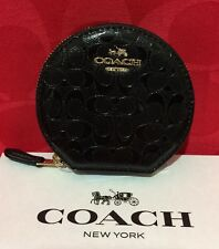 NEW COACH SIGNATURE DEBOSSED PATENT LEATHER ROUND COIN CASE  F54840 BLACK