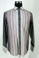 Ben Sherman Shirt Sz 3 / L Large Purplish Brown Striped Cotton Blend NWOT