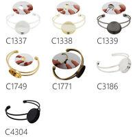 Lot 10Pcs 25MM Round Bezel Pad Adjustable Cuff Bracelet Blank Bases Settings