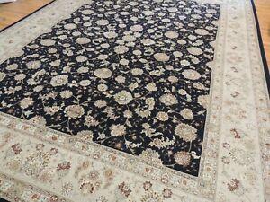 Lovely Tabrize 9x12 Oriental Area Rug wool SILK Black Beige Rust Green Geometric