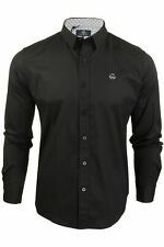 Duck and Cover Mens Felix Long Sleeve Pinstripe Shirt Grey//White