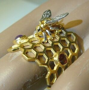 Honeybee Honey Ring Sterling Silver Yellow gold Black Diamonds Garnet Amethyst