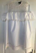 """New Look"" White Cotton Peplum Detail Mesh Cold Shoulder Beach Dress, Size 14"