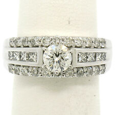 14K White Gold 1.39ctw Prong Round & Channel Princess Diamond Engagement Ring