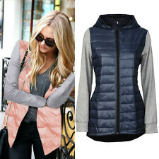 Fashion Women's Winter Warm Solid Hooded Slim Stitching Down Parka Jacket Coat