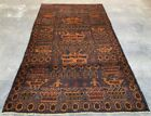 Hand Knotted Afghan Adras Khan Balouch War Tank Pictorial Wool Area Rug 7 x 4 Ft