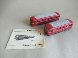 alter Märklin 3016 Spur H0 Schienenbus mit Beiwagen BR VT 95 / 795 der DB