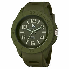 Men's Joshua & Sons JS-37-GN Luminous Hands Swiss Quartz Silicone Strap Watch