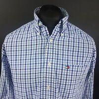 Tommy Hilfiger Mens Vintage Shirt MEDIUM Long Sleeve Blue Classic Fit Check