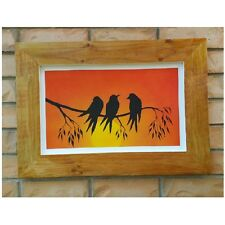 Australian Made Frame N Hand painted W Swallows Family Birds Wall Art Hanging