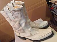 Aketohn Tronchetto Pelle Old Boy ITALIAN 44 Leather Horse Hair Boots $795 RETAIL