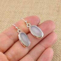Aqua Blue Chalcedony Oval 925 Sterling Silver Drop Earrings Gemstone Jewellery