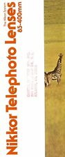 1970s NIKKOR TELEPHOTO LENSES BROCHURE -85 to 400mm LENS for NIKON 35mm  SLR