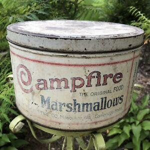 Antique Campfire Marshmallow Tin Can Milwaukee Wis Cambridge Mass Vintage