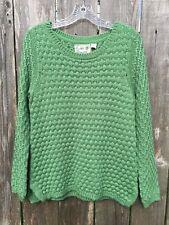 ANTHROPOLOGIE Field Flower Women's L Wool Blend Green Crew Neck Sweater EUC