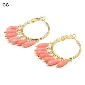 Pink Coral Gold Plated Circle Hoop Dangle Earrings For Women