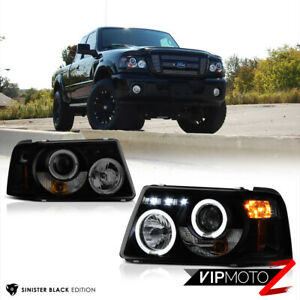 "2001-2011 Ford Ranger ""SINISTER BLACK"" Corner Halo LED Projector Headlights Lamp"