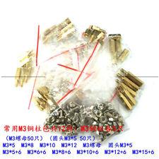 150PCS M3 Brass Standoff Spacers M3 x 5 6 8 10 12 15 +6 Bi-pass Nut Screw Kits