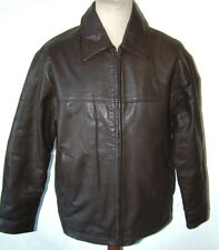 Classic Mens Dark Brown Cowhide Leather Zip Bomber Collar Jacket Size 44inch