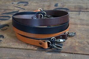 Replacement Leather Shoulder Bag Strap19mm wide 600mm long, antique brass clasps