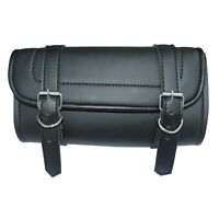 Motorcycle Tool Bag Handlebar Saddle Bag Sissy Bar PU Leather Storage Piped Edge