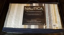 Nautica Inlet Stripe Tan, White, and Blue Quilted Shams Set of 2 NEW