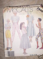 Vintage McCalls Pattern 1980s Skirt Pants Shorts XS SEW