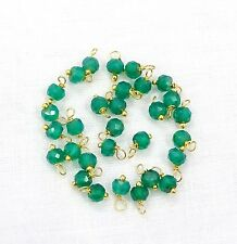 50 Pcs Natural Green Onyx Faceted 24k Gold Plated Wire Wrapped Link Loose Beads.