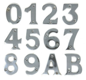 "Chromed Brass Door Chrome Numbers Letters House Flat Shop 50mm 2"" with Fixings"