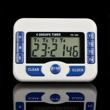 Electronic Digital Timer 4-Channel Kitchen Cooking Countdown Clock 99hr59min