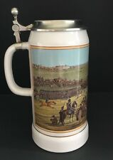 Original German Oktoberfest Lidded Beer Stein 1LT Horse Military Racing Theme