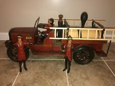VINTAGE FIRE TRUCK STEEL/WOOD WITH THREE FIREFIGHTERS