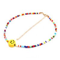 Bohemia Colorful Beads Smile Face Pendant Choker Necklace Clavicle Jewelry Gi DD