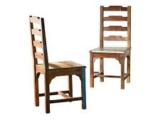 2 x Chair Dining Kitchen Recliner Wooden Recycling Shabby Vintage