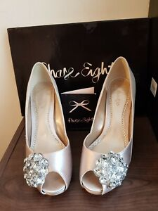 PHASE EIGHT AVA BROOCH CHAMPAGNE SHOES SIZE 4 WOMEN'S HEELS PEEP TOE WEDDING