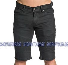 Affliction Quentin 110DS104 Men`s New Black Wax Coated Denim Fashion Moto Shorts