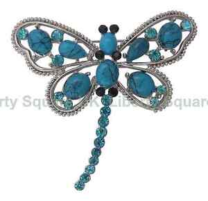 Turquoise Dragonfly Brooch - Silver Plated Finish / Mothers Day Gift  #573