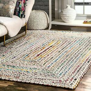 Multicoloured Cotton Carpet Reversible Rustic look Area Rug Braided Style Rug